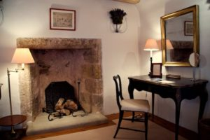 Fireplace desk and chair in Erskine suite