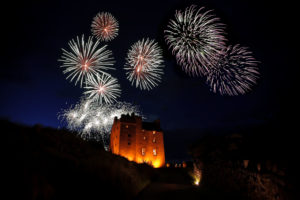 Wedding fireworks display over Fenton Tower
