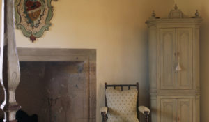 Fireplace and crest