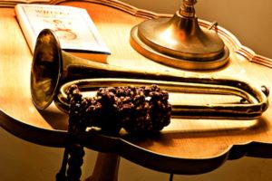 Trumpet on table